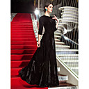 cheap Necklaces-A-Line Jewel Neck Floor Length Velvet Celebrity Style / Vintage Inspired Formal Evening Dress with Pleats by TS Couture®