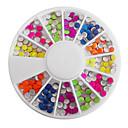 billige Rhinsten&Dekorationer-Mixed Candy Color Fluorescent Round Nail Art Dekorationer