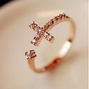 baratos Anéis-Mulheres Anel de banda anel de embrulho Strass Liga Cruz Aberto Anéis Jóias Dourado Para Festa Diário Ajustável