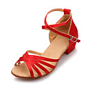 cheap Latin Shoes-Women's Latin Shoes Leatherette Sandal Buckle Low Heel Non Customizable Dance Shoes Black / Red / Royal Blue / Suede / Professional