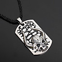 cheap Men's Rings-Men's Pendant Necklace - Leather, Silver Plated Skull Gothic Necklace Jewelry For Party, Halloween