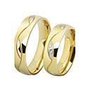 olcso Gyűrűk-Páros Kocka cirkónia Páros gyűrűk / Band Ring - Rozsdamentes acél, Arannyal bevont, Hamis gyémánt Szerelem Luxus 5 / 6 / 7 Fekete / Aranyozott Kompatibilitás Esküvő / Ajándék / Napi / 2pcs