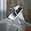 povoljno Naušnice-Kupaonica Sudoper pipa - Waterfall Chrome Središnje pozicionirane Jedan Ručka jedna rupaBath Taps