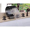 preiswerte Weinzubehör-Badewannenarmaturen - Moderne Öl-riebe Bronze Badewanne & Dusche Keramisches Ventil / Messing / Zwei Griffe Fünf Löcher