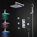 abordables Offres de la Semaine-Robinet de douche - Moderne Chrome Système de douche Soupape céramique Bath Shower Mixer Taps / LED / Douche pluie / Débit d'eau / Laiton / Trois poignées cinq trous