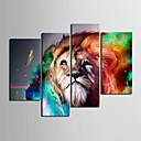 halpa Tulosteet-Pingoitetut kanvasprintit Kanvassarja Eläimet 4 paneeli Horizontal Painettu Wall Decor Kodinsisustus
