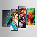 cheap Stretched Canvas Prints-Stretched Canvas Print Canvas Set Animals Four Panels Horizontal Print Wall Decor Home Decoration