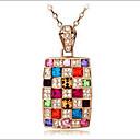 hesapli Moda Kolyeler-Kadın's Kristal Uçlu Kolyeler Gökküşağı Bayan Avusturya Kristali alaşım Ekran Rengi Kolyeler Mücevher Uyumluluk