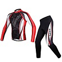 cheap Cycling Jackets-SANTIC Men's Long Sleeves Cycling Jersey with Tights - Red black Bike Jersey Clothing Suits, Breathable