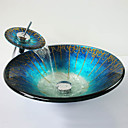 billige Frittstående vask-Moderne Rund Vaskmateriale er Herdet Glass Baderomsvask Baderomskran Baderom Monteringsring Baderom Vannavløp
