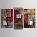 cheap Abstract Paintings-Oil Painting Hand Painted - Abstract Classic Traditional Three Panels