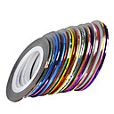 billige Folie af papir-30 pcs Nail Foil Striping Tape Negle kunst Manicure Pedicure Daglig Abstrakt / Mode / Folie Stripping Tape
