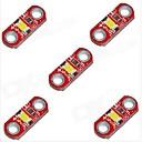 baratos Módulos-hzled 5v 40mA 3000k 400-500mcd quente mini-3000k branco módulo de LED - vermelho (5 peças)
