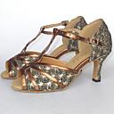 abordables Zapatos de Baile Latino-Mujer Brillantina / Semicuero Zapatos de Baile Latino / Zapatos de Salsa Sandalia Tacón Personalizado Personalizables Negro / Rojo / Plata / Ante / EU43