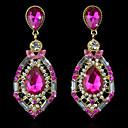 cheap Earrings-Women's Crystal / Synthetic Diamond Stud Earrings / Drop Earrings - 18K Gold Plated Luxury, European, Fashion Green / Pink / Royal Blue For