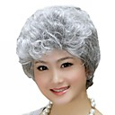 cheap Synthetic Wigs-Synthetic Wig Curly Asymmetrical Haircut Synthetic Hair Natural Hairline Gray Wig Women's Short Capless / Yes