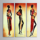 cheap Oil Paintings-Oil Painting Hand Painted - People Canvas Three Panels