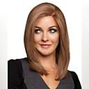 hesapli Sentetik Kapsız Peruklar-Sentetik Peruklar Düz Asimetrik Saç Kesimi Sentetik Saç Doğal saç çizgisi Kahverengi Peruk Kadın's Orta uzunluk Bonesiz