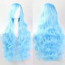 お買い得  ビデオゲーム コスプレ用ウィッグ-人工毛ウィッグ カール スタイル キャップレス かつら ブルー 合成 かつら