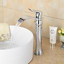 preiswerte Synthetische Perücken-Moderne 3-Loch-Armatur Wasserfall Keramisches Ventil Ein Loch Einhand Ein Loch Chrom, Waschbecken Wasserhahn