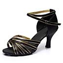 povoljno Cipele za latino plesove-Žene Plesne cipele Saten Cipele za latino plesove Kopča Štikle Potpetica po mjeri Moguće personalizirati Crno Zlato / Seksi blagdanski kostimi