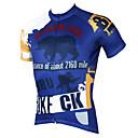 billige Cykeltrøjer-ILPALADINO Herre Kortærmet Cykeltrøje - Blå Tegneserie / Dyr Cykel Trøje, Hurtigtørrende, Ultraviolet Resistent, Åndbart Polyester