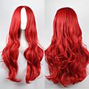 olcso Szintetikus parókák-Szintetikus parókák Göndör / Hullámos Aszimmetrikus frizura Szintetikus haj Természetes hajszálvonal Piros Paróka Női Hosszú Sapka nélküli