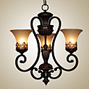 cheap Chandeliers-Ecolight™ 3-Light Chandelier Ambient Light Painted Finishes Metal Glass Candle Style 110-120V / 220-240V Bulb Not Included / E26 / E27