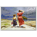 cheap Landscape Paintings-Oil Painting Hand Painted - People European Style Modern Canvas