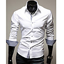 cheap Men's Accessories-Men's Work Plus Size Cotton Slim Shirt - Solid Colored Basic Spread Collar / Long Sleeve