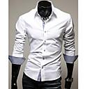 hesapli Kolyeler-Erkek Pamuklu Klasik Yaka İnce - Gömlek Solid Çalışma Büyük Bedenler / Uzun Kollu
