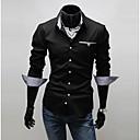 abordables Camisas de Hombre-Hombre Negocios Trabajo Tallas Grandes Algodón Camisa Un Color / A Rayas / Manga Larga
