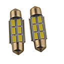 abordables Luces Interiores de Coche-2pcs 39mm / 36mm Coche Bombillas 1.2W SMD 5630 140lm 6 Luz de Lectura