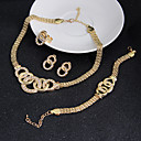 olcso Ékszer készlet-Női Kocka cirkónia Ékszer szett - Kocka cirkónia Nyilatkozat, Vintage, Party tartalmaz Fülbevaló Karkötő Arany Kompatibilitás Esküvő Parti Különleges alkalom / Gyűrűk / Naušnice / Nyakláncok