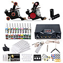 cheap Starter Tattoo Kits-Tattoo Machine Starter Kit - 2 pcs Tattoo Machines with 20 x 5 ml tattoo inks, Professional LCD power supply Case Not Included 2 cast iron machine liner & shader