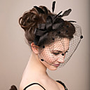 cheap Party Headpieces-Feather / Net Fascinators / Flowers / Birdcage Veils with 1 Wedding / Special Occasion Headpiece