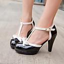 זול נעלי עקב לנשים-בגדי ריקוד נשים עקב גביע / פלטפורמה פפיון דמוי עור אביב / קיץ שחור / אדום / ורוד / שמלה / EU40