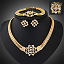 cheap Jewelry Sets-Women's Jewelry Set Luxury Vintage Party Link/Chain Cubic Zirconia Gold Plated Imitation Diamond Alloy Bracelet Earrings Necklaces Ring