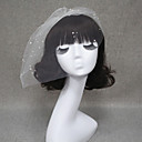 preiswerte Hochzeitsschleier-Einschichtig Schnittkante Hochzeitsschleier Gesichts Schleier Schleier für kurzes Haar Mit Perle Tüll