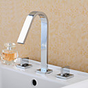 billige Syntetiske parykker-Baderom Sink Tappekran - Foss Roterbar Krom Udspredt Tre Huller To Håndtak tre hull