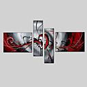 رخيصةأون لوحات تجريدية-رسمت باليد تجريديالحديث / الطراز الأوروبي أربع لوحات قماش القنب هانغ رسمت النفط الطلاء For تصميم ديكور المنزل