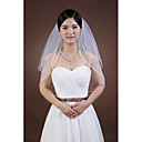 cheap Cake Toppers-Two-tier Pencil Edge Wedding Veil Elbow Veils 53 Rhinestone Ribbon Tie Tulle