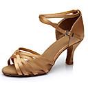 cheap Latin Shoes-Women's Latin Shoes Satin Heel Buckle Customized Heel Customizable Dance Shoes Brown / Leopard / Nude / Indoor