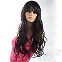 billige Blondeparykker med menneskehår-Syntetiske parykker Bølget Syntetisk hår Brun Parykk Dame Lokkløs Brun