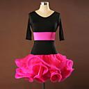 baratos Sapatilhas de Balé-Dança Latina Vestidos Mulheres Treino Espetáculo Elastano Crepe Viscose Franzido Meia Manga Vestido