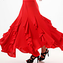 baratos Roupas de Dança de Salão-Dança de Salão Saia Mulheres Treino / Espetáculo Fibra de Leite Pregueado / Fru-Fru Saia / Dança Latina / Dança Moderna