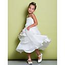 cheap Wedding Shoes-A-Line Tea Length Flower Girl Dress - Organza / Taffeta Sleeveless Straps with Sash / Ribbon / Ruffles / Pleats by LAN TING BRIDE®