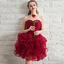 זול שמלות שושבינה-נשף לב (סוויטהארט) קצר \ מיני אורגנזה שמלה לשושבינה  עם קפלים מדורגים על ידי LAN TING Express