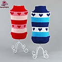 cheap Dog Clothes-Cat / Dog Sweater Dog Clothes Heart Red / Blue Cotton Costume For Pets Men's / Women's Casual / Daily