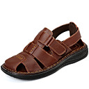 cheap Men's Sandals-Men's Cowhide Spring / Summer Comfort Sandals Water Shoes Black / Light Brown